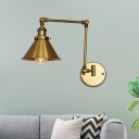 Clad Cone Sconce Fixture Loft Metal 1 Head Swing Arm Sconce Light Fixtures for Corridor