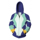 Fashion 3D Color Block Comic Cosplay Costume Blue Zip Up Hoodie