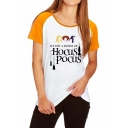 Trendy Halloween Hocus Pocus Letter Color Block Raglan Short Sleeve T-Shirt