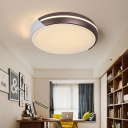 Champagne Gold Drum Ceiling Light Contemporary Metallic LED Flush Mount Lighting for Bedroom