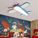 Blue Aircraft Flush Ceiling Light Kids Style Metal Flush Mount Light With Acrylic Diffuser