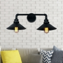 Black Conic Light Fixtures Iron 2 Lights Wall Mounted Light Fixture for Balcony