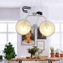 Contemporary Hanging Light Fixture Glass and Metal 2 Lights Unique Hanging Pendant Lights for Coffee Shop