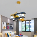 Cartoon Airplane Pendant Light Glass and Metal Ceiling Light Fixture for Children Bedroom