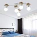 Living Room Bare Bulb Semi-Flush Ceiling Fixture Metal 5/8/12 Light Modern Black/White Ceiling Light