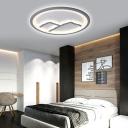Modern Mountain and Water Ceiling Light Acrylic LED White/Gray Flush Mount for Living Room
