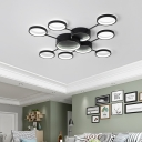 Black Finish Drum Ceiling Light 4/6/8/10 Light Contemporary Acrylic Flush Mount for Living Room