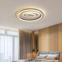 Indoor Ellipse Flush Mount Fixture Acrylic LED Contemporary Black Ceiling Mounted Light