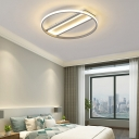 Gray Circular Led Surface Mount Ceiling Light Minimalist Acrylic Flush Mount Light