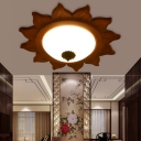 Rustic Round Flush Mount Lighting Fixtures Wood 1 Light Flush Mount Lighting with Frosted Glass Shade for Bedroom