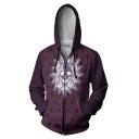 New Trendy Cool Allover Skull Printed Purple Zip Up Drawstring Hoodie
