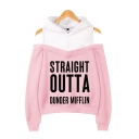 Hot Popular Letter Straight Outta Dunder Mifflin Print Cold Shoulder Pullover Hoodie