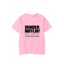 New Fashion Simple Letter Dunder Mifflin Printed Round Neck Short Sleeve Casual Tee