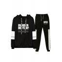 New Fashion Letter Dunder Mifflin Printed Drawstring Hoodie with Joggers Pants Two-Piece Sets