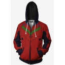 New Fashion 3D Red Printed Long Sleeve Zip Up Hoodie