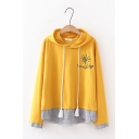 Sunshine Letter Printed Two-Piece Patchwork Striped Long Sleeve Hoodie