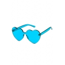 Trendy Heart Shaped Sheer Candy Color Unisex Sunglasses