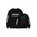 HOW TO CONTROL Letter Eyes Printed Long Sleeve Round Neck Sweatshirt