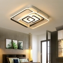 White Geometric Ceiling Light Fixture Minimalist Metal Led Flushmount Lighting