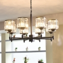 Crystal Shaded Chandelier Light Modern Iron Ceiling Chandelier in Black for Living Room