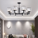 Cylinder Chandelier Light Modern Iron Crystal Fringe Ceiling Chandelier in Black for Living Room