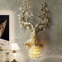 1 Light Deer Wall Mounted Light with Amber Crystal Shade Rustic Loft Resin Wall Lamp