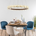 Led Circle Ring Chandelier Lamp Modernism Foyer Pendant Light with Clear Crystal Flower