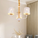 Empire Shade Chandelier Lighting with Etched Tree Design Modern Metal White Hanging Lamp
