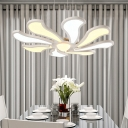 Modern Led Chandelier Lighting with Flower Acrylic Shade Height Adjustable White Pendant Light