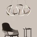 Metal Waving Ceiling Pendant Light Modernism Integrated Led Ambient Lighting