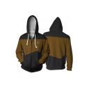 Star Trek Logo Printed Cosplay Costume Color Block Long Sleeve Zip Up Hoodie