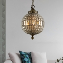 Clear Crystal Global Pendant Light Modernism 1/3 Lights Foyer Hanging Ceiling Light in Aged Brass