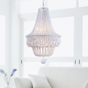 White Beaded Chandelier Light French Country Wood 8 Light Empire Chandelier for Indoor