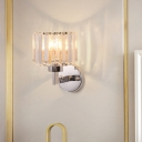 Cubic/Cylinder Wall Sconce Light Modern Metal and Crystal 1 Head Wall Lamp Sconce in Chrome for Foyer