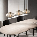 Minimalist Pendant Lighting with Clear Glass Shade Single Light Indoor Hanging Ceiling Light in Brass