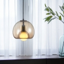 Nordic Dome Hanging Ceiling Light with Amber/Smoke Glass Shade 1 Light Pendant Light in Black