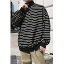 Guys New Trendy Striped Print High Neck Long Sleeve Half-Zipper Loose Casual Sweatshirt