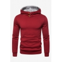 Men's Winter New Stylish Simple Plain Long Sleeve Casual Slim Fitted Button Hoodie