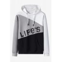 Mens New Stylish Color Block Letter LIFE'S Printed Long Sleeve Casual Pullover Hoodie