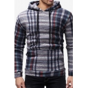 Mens New Fashion Plaid Pattern Long Sleeve Casual Slim Fit Drawstring Hoodie