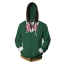3D Fashion Bow Printed Long Sleeve Cosplay Costume Green Zip Up Hoodie