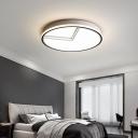 Drum Ceiling Flush Light Modern Metal White LED Flush Mount Lighting with Acrylic Diffuser