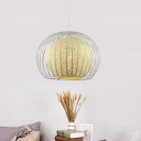 Rattan Sphere Ceiling Pendant Light Contemporary 1 Light Hanging Lamp with White Metal Cage