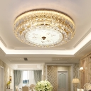 Integrated Led Drum Flush Mount Light Modernism Clear Crystal Flush Lighting with Glass Diffuser