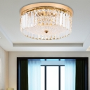 Drum Led Flush Lamp with Prism Faceted Glass Modern Flush Ceiling Light in Gold for Corridor, 14