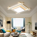 Warm/White Square Flushmount Lights Modern Acrylic 20.5