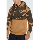 Mens New Fashion Camouflage Patched  Long Sleeve Casual Pullover Drawstring Hoodie