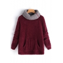 Hot Fashion Plain Zipper Turn-Down Collar Long Sleeve Fluffy Teddy Sweatshirt