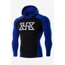 Mens Popular Fashion Logo Printed Colorblock Raglan sleeve Slim Fit Sports Hoodie