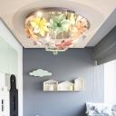 Multi-Colored Flower Semi-Flush Mount Lights Unique Crystal Flush Mount Ceiling Light for Bedroom